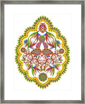 Element Of The Persian  Rug-  Lemon Framed Print by Aleksandr Volkov
