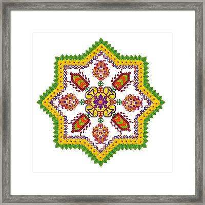 Element Of The Persian Rug - Octagonal Star Framed Print by Aleksandr Volkov