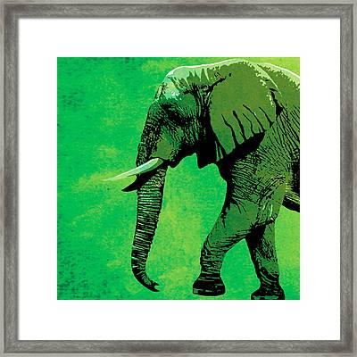 Elephant Animal Decorative Green Wall Poster 4 Framed Print by Diana Van