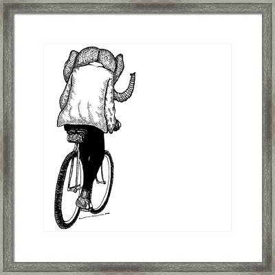 Elephant Bike Rider Framed Print by Karl Addison