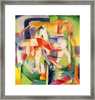Elephant Horse And Cow Framed Print by Franz Marc