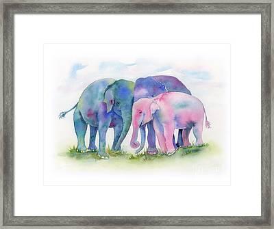 Elephant Hug Framed Print by Amy Kirkpatrick