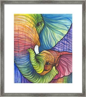 Elephant Hug Framed Print by Sarah Jane