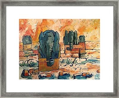 Elephants Floating Ashore On Butt Island Framed Print by Charlie Spear