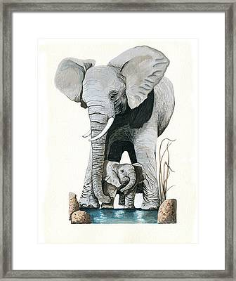 Elephants - Protect Our Children Wildlife Painting Framed Print by Linda Apple