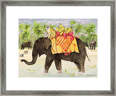 Elephants With Bananas Framed Print by EB Watts