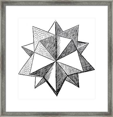 Elevated Solid Icosahedron  Framed Print by Leonardo da Vinci