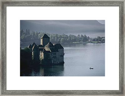 Elevated View Of Chateau De Chillon Framed Print by Thomas J. Abercrombie