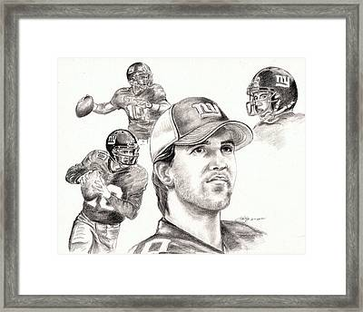 Eli Manning Framed Print by Kathleen Kelly Thompson