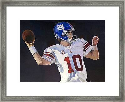 Eli Manning New York Giants Framed Print by Michael  Pattison