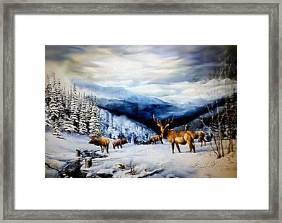 Elk In The Rockies Framed Print by Hanne Lore Koehler