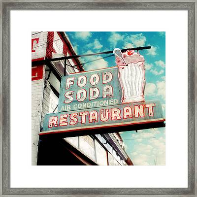 Elliston Place Soda Shoppe - Square Crop Framed Print by Amy Tyler