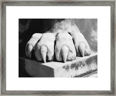 Elmwood Cemetery - Lions Paw Framed Print by Jon Woodhams
