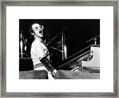 Elton John 1975 Dodger Stadium Framed Print by Chris Walter