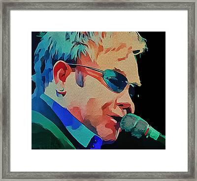 Elton John Blue Eyes Portrait 2 Framed Print by Yury Malkov