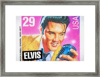 Elvis Commemorative Stamp January 8th 1993 Painted  Framed Print by Rich Franco