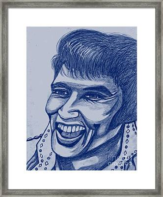 Elvis In Blue Framed Print by Richard Heyman