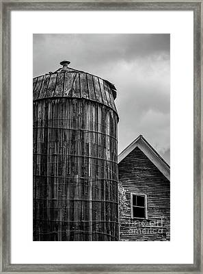 Ely Vermont Old Wooden Silo And Barn Black And White Framed Print by Edward Fielding