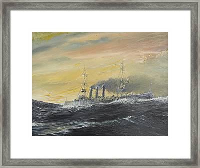 Emden Rides The Waves Framed Print by Vincent Alexander Booth
