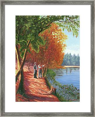 Emerson And Thoreau At Walden Pond Framed Print by Steve Simon