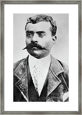 Emiliano Zapata Framed Print by Mexican School