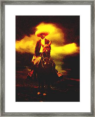 Emiliano Zapata Y Caballo Framed Print by Totto Ponce