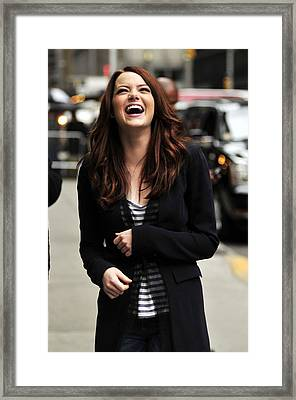 Emma Stone At Talk Show Appearance Framed Print by Everett