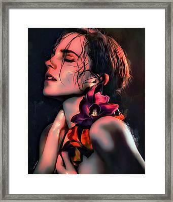 Emma Watson Portrait Framed Print by Scott Wallace
