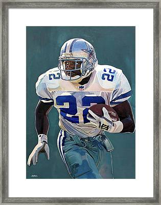 Emmitt Smith - Dallas Cowboys Framed Print by Michael  Pattison