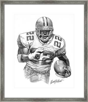Emmitt Smith Framed Print by Harry West