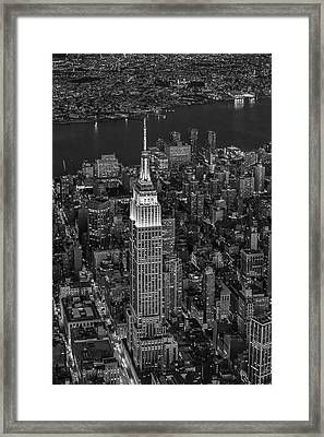 Empire State Building Aerial View Bw Framed Print by Susan Candelario