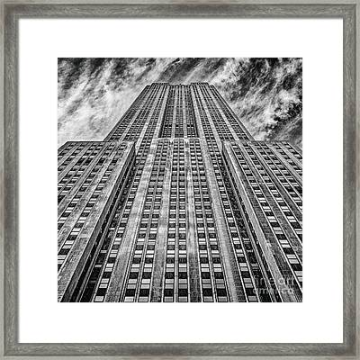 Empire State Building Black And White Square Format Framed Print by John Farnan