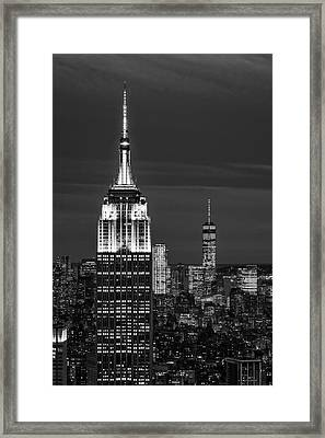 Empire State Building Esb World Trade Center Wtc Nyc Bw Framed Print by Susan Candelario