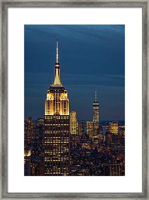 Empire State Building Esb World Trade Center Wtc Nyc Framed Print by Susan Candelario