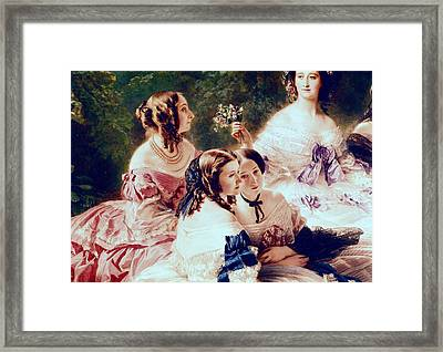 Empress Eugenie And Her Ladies In Waiting Framed Print by Franz Xaver Winterhalter