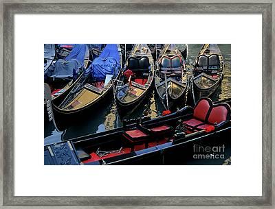 Empty Gondolas Floating On Narrow Canal In Venice Framed Print by Sami Sarkis