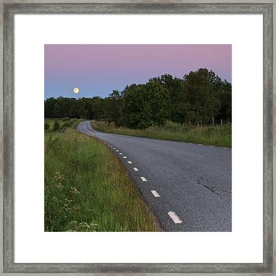 Empty Road In Countryside Landscape Framed Print by Jens Ceder Photography