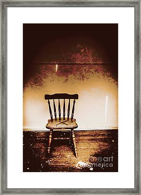 Empty Wooden Chair With Cross Sign Framed Print by Jorgo Photography - Wall Art Gallery