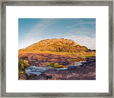 Enchanted Rock Bathed In Golden Hour Sunset Light - Fredericksburg Texas Hill Country Framed Print by Silvio Ligutti