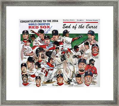 End Of The Curse Red Sox Newspaper Poster Framed Print by Dave Olsen