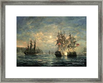 Engagement Between The 'bonhomme Richard' And The ' Serapis' Off Flamborough Head Framed Print by Richard Willis