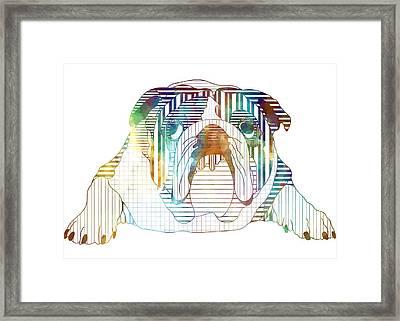 English Bulldog Dog Art Framed Print by Shara Lee