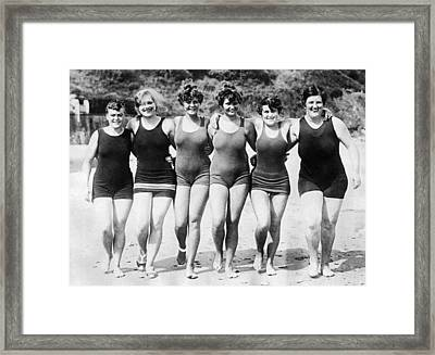 English Channel Swim Hopefuls Framed Print by Underwood Archives