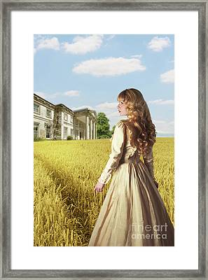 English Countryside With Mansion Framed Print by Amanda And Christopher Elwell