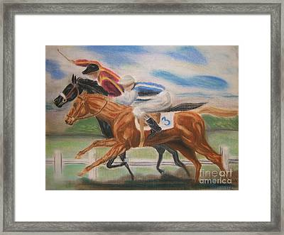 English Horse Race Framed Print by Nancy Rucker