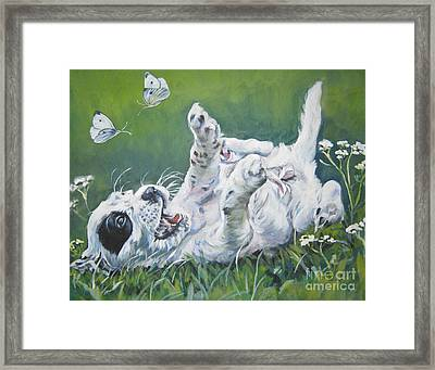 English Setter Puppy And Butterflies Framed Print by Lee Ann Shepard
