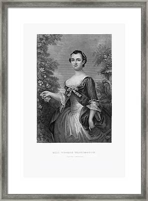 Engraved Portrait Of Mrs. George Washington, Martha Dandridge, Circa 1780 Framed Print by Craig McCausland