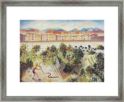 Enjoying The Desert Framed Print by Suzanne  Marie Leclair