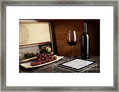 Enjoying Wine With Old Music And Modern Technology Framed Print by Wolfgang Steiner