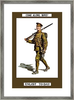 Enlist To-day - World War 1 Framed Print by War Is Hell Store